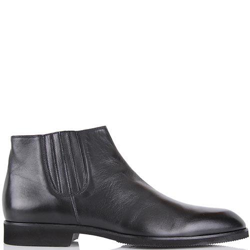 Ботинки Pakerson из кожи черного цвета со вставкой-резинкой, фото