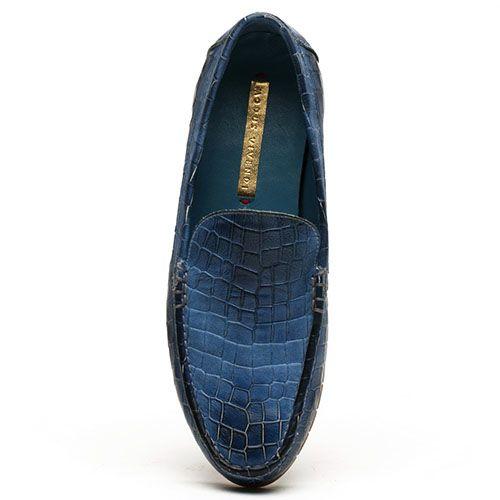 Мокасины Modus Vivendi кожаные синего цвета с тиснением под кожу рептилии, фото