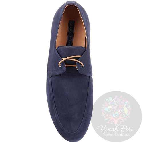 Туфли-мокасины Modus Vivendi из нубука синего цвета, фото