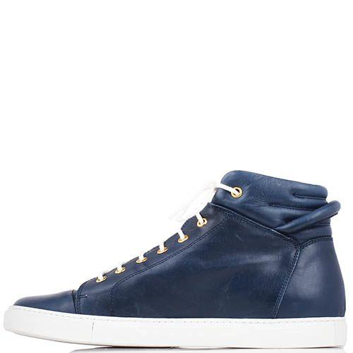 Высокие кеды Richbobois синего цвета на белой шнуровке, фото