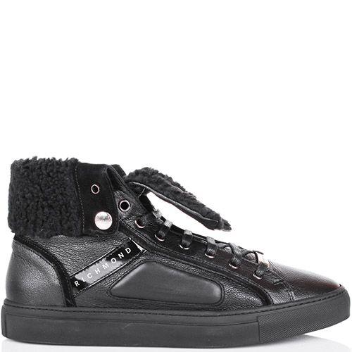 Ботинки Richmond зимние черного цвета с меховым отворотом, фото