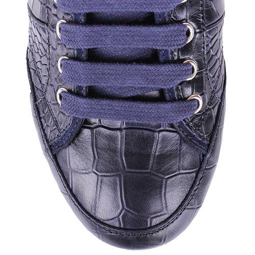Кеды John Richmond синего цвета из кожи с тиснением под крокодила, фото