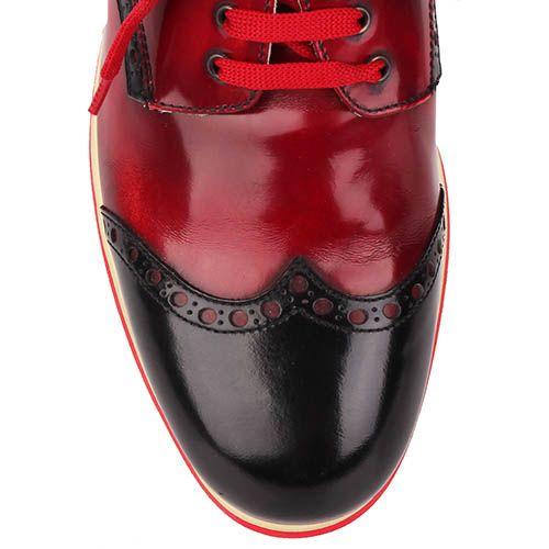 Кожаные туфли-броги G.K.M алого цвета с вставками из коричневой и белой кожи, фото