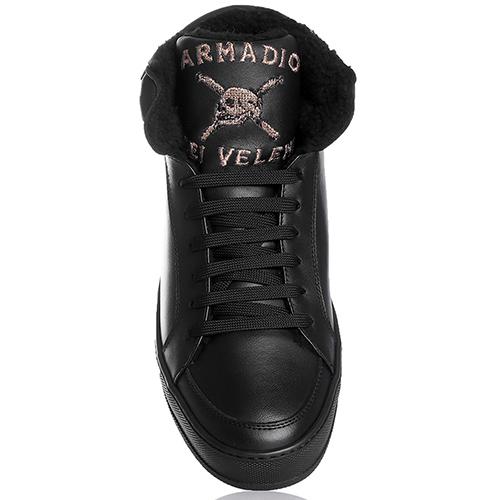 Черные ботинки John Richmond с вышивкой-череп, фото