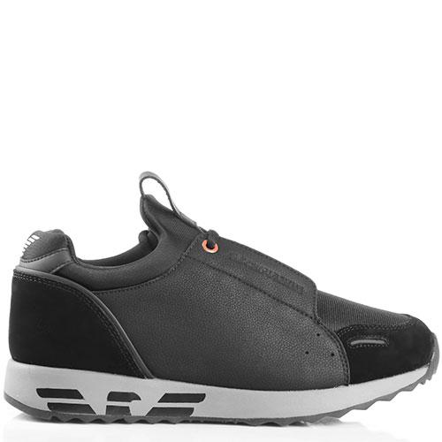 Черные кроссовки Emporio Armani с оранжевым декором, фото