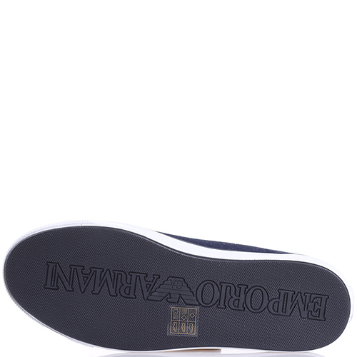Синие кеды Emporio Armani с тиснением под змею на носке, фото