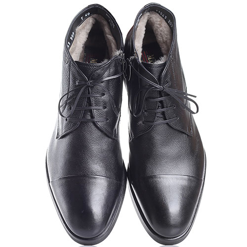 Классические ботинки Mario Bruni из мелкозернистой кожи черного цвета, фото