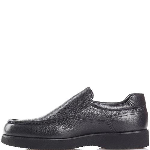 Зимние туфли Roberto Serpentini из черной кожи с декоративной строчкой, фото