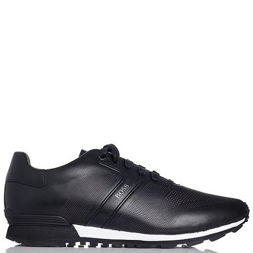 Мужские кроссовки Hugo Boss из кожи черного цвета, фото