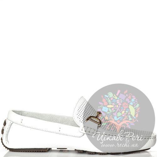 Лоферы La Martina кожаные белые перфорированные, фото