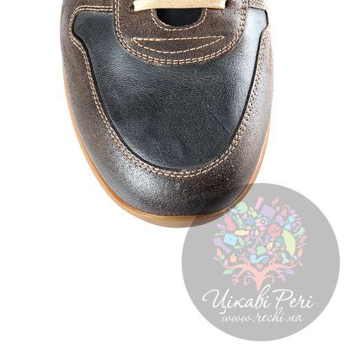 Кроссовки La Martina черно-коричневые кожаные с замшей в обработке, фото
