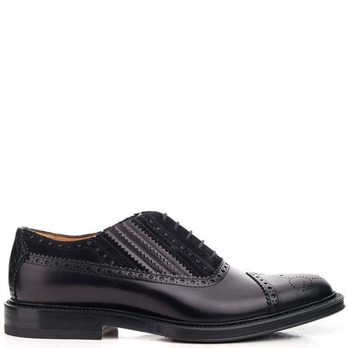 Черные туфли Gucci из комбинации кожи и замши, фото