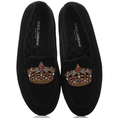 Лоферы Dolce&Gabbana с вышивкой-короной, фото