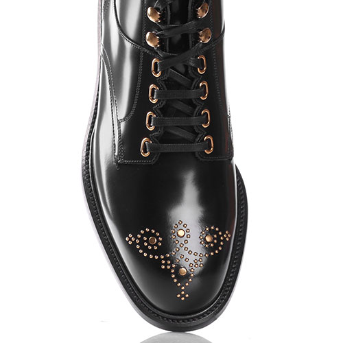 Мужские ботинки Dolce&Gabbana с золотистым декором на носке, фото