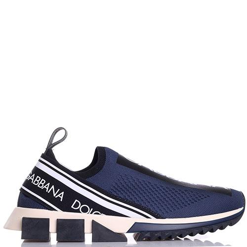 Кроссовки Dolce&Gabbana синего цвета с логотипом, фото