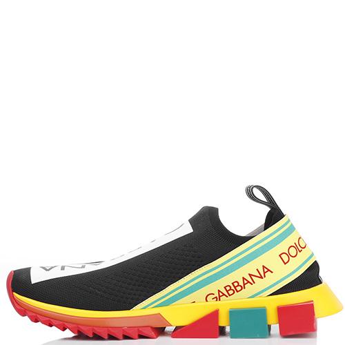 Спортивные слипоны Dolce&Gabbana на цветной подошве, фото