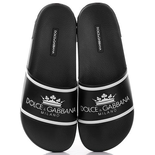 Черные шлепанцы Dolce&Gabbana Ciabatta с рельефным логотипом, фото