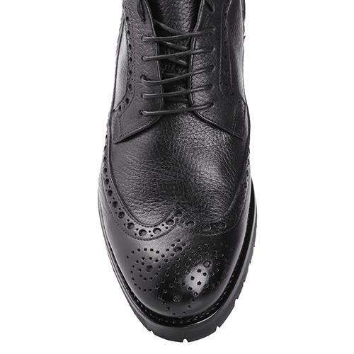Ботинки-броги Mario Bruni из черной зернистой кожи, фото