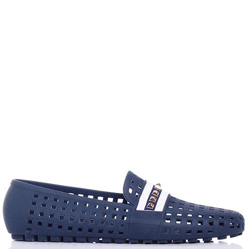 Синие мокасины Menghi с крупной перфорацией, фото