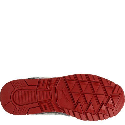 Мужские кроссовки Saucony Shadow 5000 серые с красной подошвой, фото