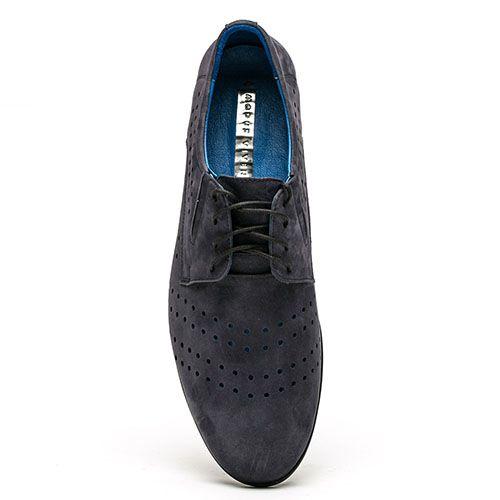 Кожаные туфли синего цвета Modus Vivendi на шнуровке, фото