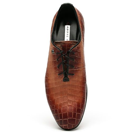 Туфли Modus Vivendi кожаные рыжего цвета с фактурным тиснением, фото