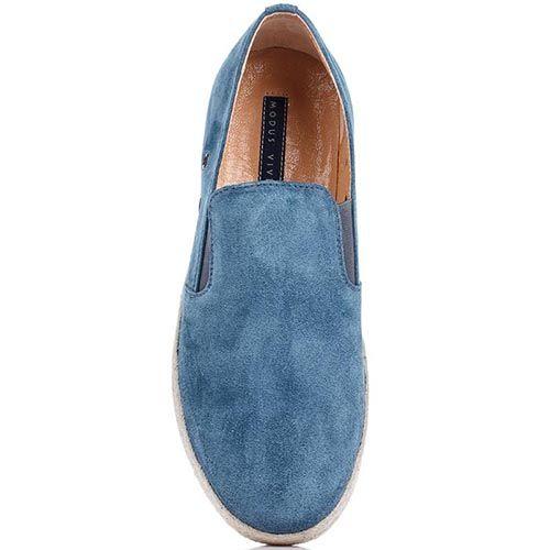 Мужские мокасины Modus Vivendi из натуральной замши синего цвета, фото