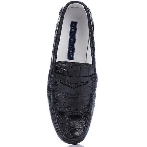 Черные туфли-мокасины Modus Vivendi из натуральной фактурной кожи, фото