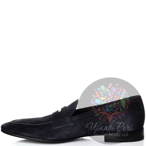 Туфли-лоферы Alessandro Dell Acqua из замши синего цвета, фото