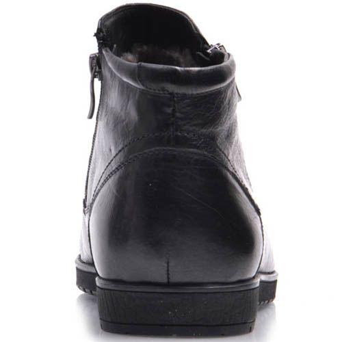 Ботинки Prego зимние черного цвета кожаные на меху с двумя молниями, фото
