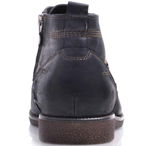 Ботинки Prego зимние на меху из нубука синего цвета с бежевой кожаной вставкой, фото
