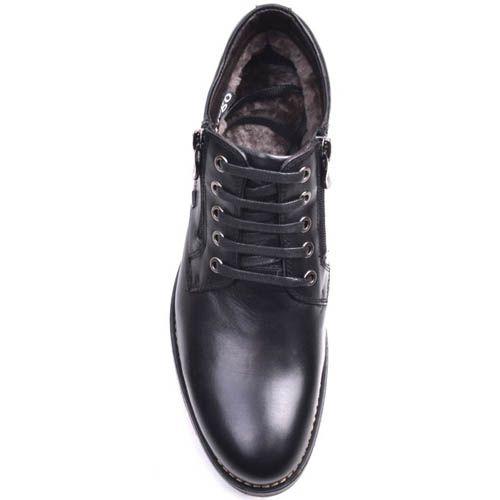 Ботинки Prego зимние черного цвета кожаные на шнуровке и с двумя молниями по бокам, фото