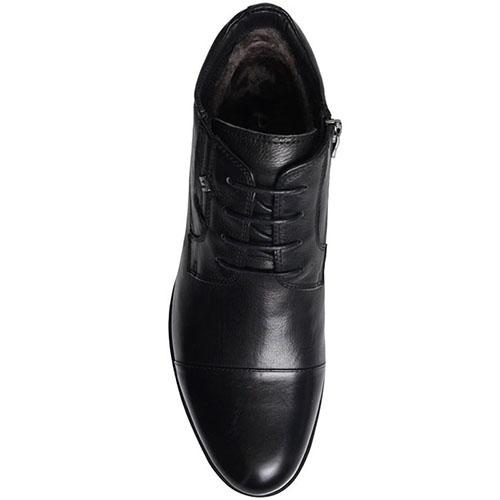 Мужские ботинки Prego из кожа черного цвета с закругленным носком, фото
