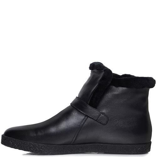 Мужские ботинки Prego из кожи черного цвета с ремешком, фото