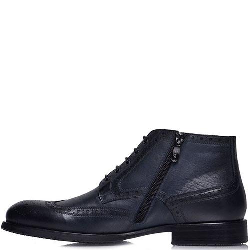 Ботинки-броги Prego из  натуральной кожи синего цвета, фото