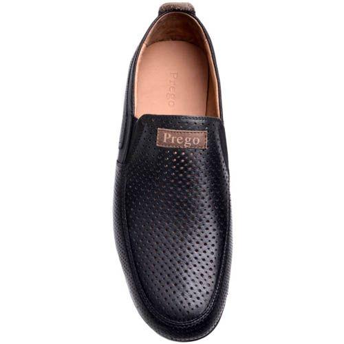 Мокасины Prego мужские черного цвета из перфорированной кожи, фото