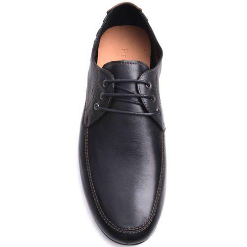 Туфли Prego мужские кожаные черного цвета с бежевыми строчками, фото