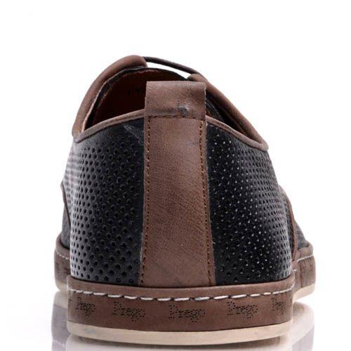 Туфли Prego мужские черного цвета кожаные с коричневой оконтовкой и мелкой перфорацией, фото