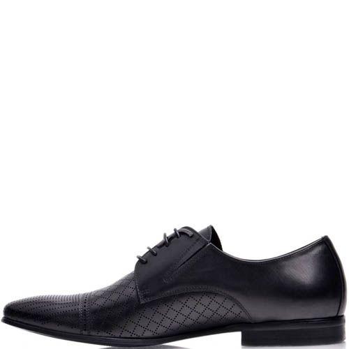 Туфли Prego мужские черного цвета с мелкой симметричной перфорацией, фото