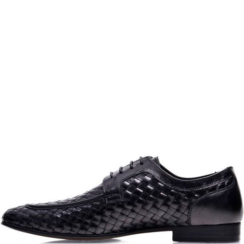 Туфли Prego мужские черного цвета с эффектом плетения, фото