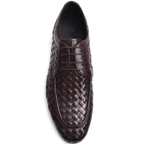 Туфли Prego мужские коричневого цвета с эффектом плетения, фото