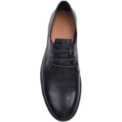 Туфли Prego черного цвета на шнуровке с плоской подошвой, фото