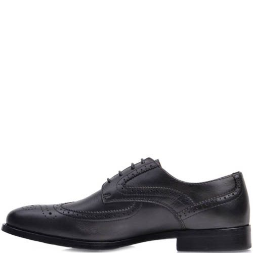 Туфли-броги Prego кожаные черного цвета с перфорированным узором на носке, фото