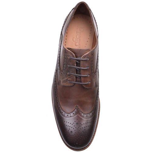 Туфли-броги Prego коричневого цвета с перфорацией на носке, фото