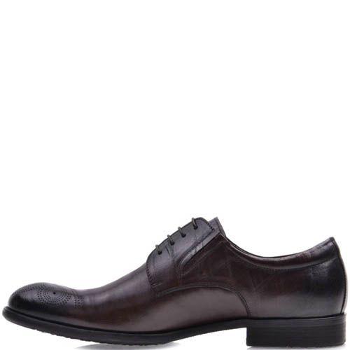 Туфли-броги Prego коричневого цвета гладкие со шнуровкой и резинками по бокам и с перфорацией на носке, фото
