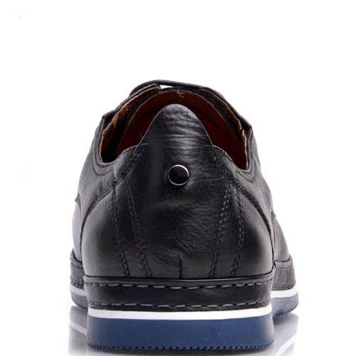 Туфли Prego мужские кожаные черного цвета с синей подошвой, фото