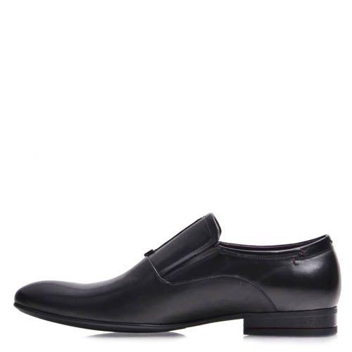 Туфли-лоферы Prego мужские черного цвета с короткой декоративной строчкой, фото