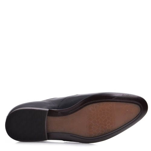 Туфли Prego мужские черного цвета с плоской тонкой шнуровкой, фото