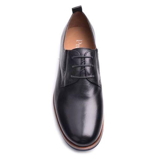 Туфли Prego мужские кожаные черного цвета с оконтовкой синего цвета на подошве, фото