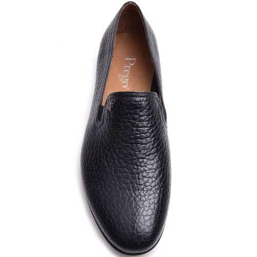 Слиперы Prego мужские черного цвета из мелкозернистой кожи, фото